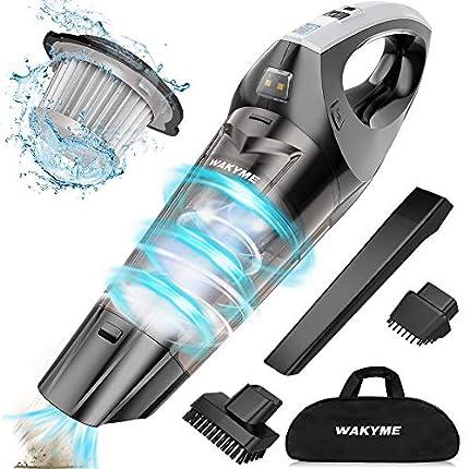 WAKYME Aspiradora de Mano, 9KPA Aspirador Mano Sin Cable Potente, Carga rápida Aspiradoras en Seco y Húmedo, Luz LED, Batería de 2500mAh, Completo para Oficina Hogar y Coche