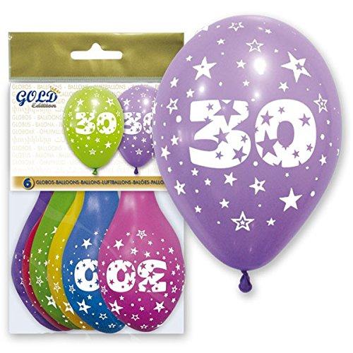 FIESTADEKOR Globo LÁTEX Impreso con EL NÚMERO 30, DIAM. 28 CM, Surtidos DE Color Pq 6 UND. Especial para Decoraciones, Fiestas de cumpleaños, Aniversarios (30 AÑOS)