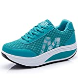 CN-Porter Women's Platform Fitness Mesh Platform Sneaker Shake Shoes Lake Blue