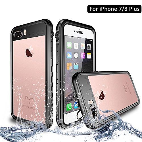 NewTsie Funda iPhone 7 Plus, Funda iPhone 8 Plus, Anti-rasguños Impermeable Carcasa Funda Case con Protector de Pantalla Submarino Caso para iPhone 7/8 Plus 5.5 Inch (T-Negro)