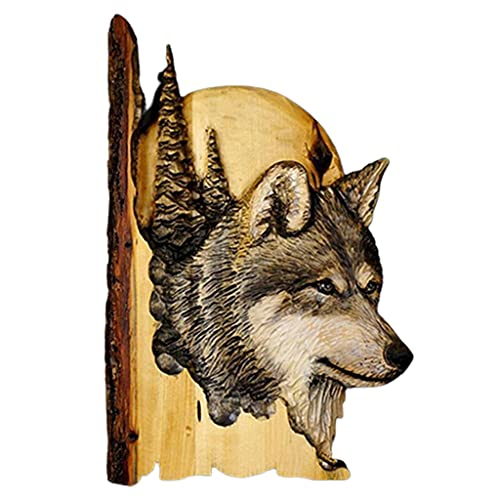 HEYLULU Animal Tallado Artesanal Escultura Colgante de Pared 3D Mapache Oso Ciervo Arte decoración Animal Talla Artesanal Lobo
