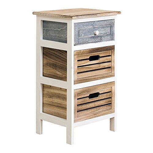 Rebecca Mobili Kommode mit 3 Schubladen, Nachttisch im Vintage-Stil, Holz, Grau Weiß, Country Shabby, Schlafzimmer Bad – Maße: 65 x 36,7 x 28,8 cm (HxLxB) - Art. RE4185