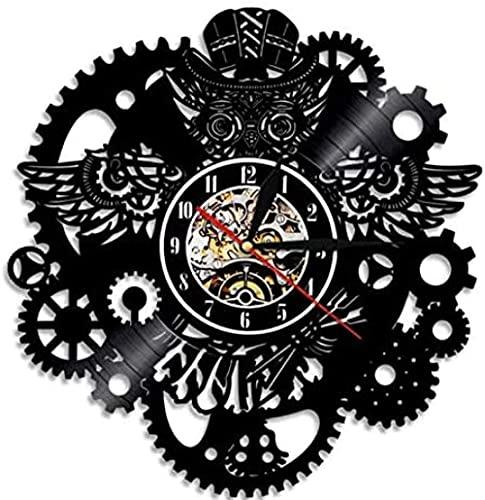 BBZZL Reloj de Pared de Vinilo Navidad Steampunk búho Colgante de Pared Arte Reloj Retro Reloj de Disco de Vinilo decoración del hogar Engranaje búho Steampunk Reloj de Pared Personalizado 30 cm