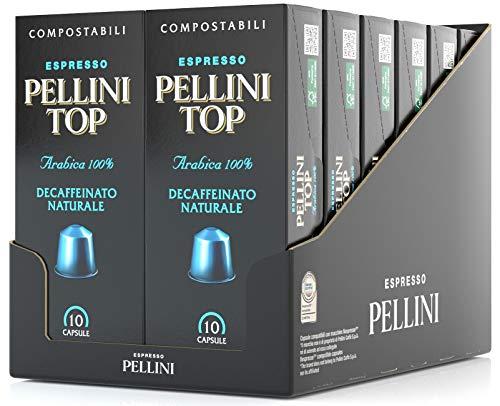 Pellini Caffè Top Arabica 100% Decaffeinato Naturale, Capsule Compatibili Nespresso, COMPOSTABILI e Autoprotette, 12 Astucci da 10 Caspsule, Totale 120 Capsule