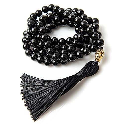 Perla Style Collar Tibetano 108 Cuentas de Piedras Naturales Malachite Amuleto Buda Collar Pulsera Largo Budista Rosario Mala Meditación