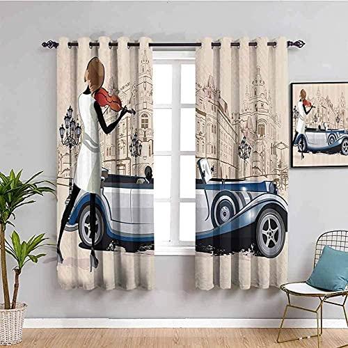 LTHCELE Opacas Cortinas Dormitorio - Dibujos animados coche niña violín edificio - Impresión 3D Aislantes de Frío y Calor 90% Opacas Cortinas - 280 x 245 cm - Salon Cocina Habitacion Niño Mode
