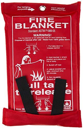 Hot Headz H-FIR-BLN100 Fire Blanket, 36 x 36-Inch, Red