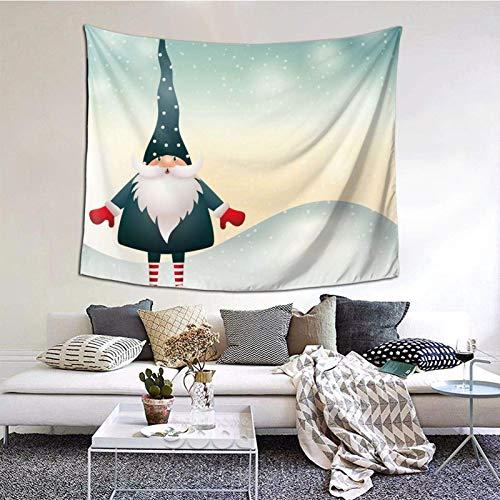 Tapiz de Papá Noel Feliz Navidad, tapiz para dormitorio, sala de estar, manta para colgar en la pared, impresión 3D, decoración del hogar, 60 x 129,5 cm, elfos folclore nórdico 11