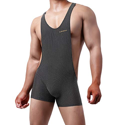 YUFEIDA Men's Athletic Supporters One Piece Bodysuit Mesh Breathable Active Wrestling Leotard Stretchy Base Layers Boxer Singlet (M, Black)