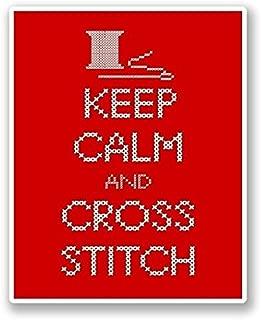 American Stickers USA INC 3 Pack - Keep Calm & Cross Stitch WINDOW CLING STICKER Car Van Campervan Glass - Sticker Graphic - Construction Toolbox, Hardhat, Lunchbox, Helmet, Mechanic, Luggage