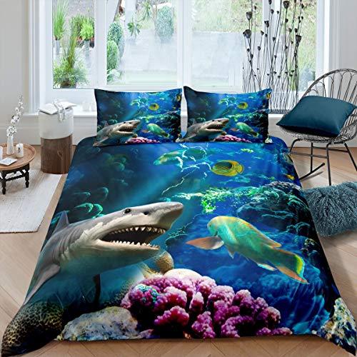 Juego de funda de edredón con diseño de tiburón y vida marina con temática de océano, juego de ropa de cama para niños y niñas