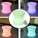 "Sunnady 16"" 300lb Heavy Duty Led Mood Lamp Stool Indoor Outdoor Illuminated Adjustable Led Light Cordless Garden Perfect Ambient Lighting for Your Home, Party, Or Wedding"