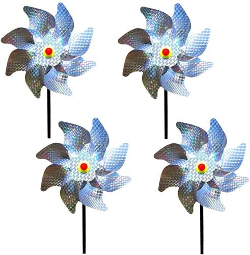 KNMY - Molino de viento para decoración de jardín, protección contra aves, protección óptica reflectante, seguro, eficaz y bonito como clavos de protección de aves, puede proteger jardines y césped.