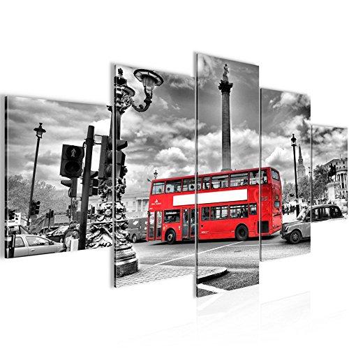 Runa Art Bilder London Bus Wandbild 200 x 100 cm Vlies - Leinwand Bild XXL Format Wandbilder Wohnzimmer Wohnung Deko Kunstdrucke Rot 5 Teilig - Made in Germany - Fertig Zum Aufhängen 604751a