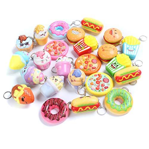 Sinofun 8PCS Random Kawaill Small Food Squishy Package Set, Including Cake, Pizza, Hamburger, Ice Cream, Doughnut, Hot Dog, Slow Rising Keychain Education Toys