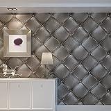 HANMERO Papier peint vintage 3D imitation cuir texturé grise pour salon TV fond gris 20,8 x 393,7 cm