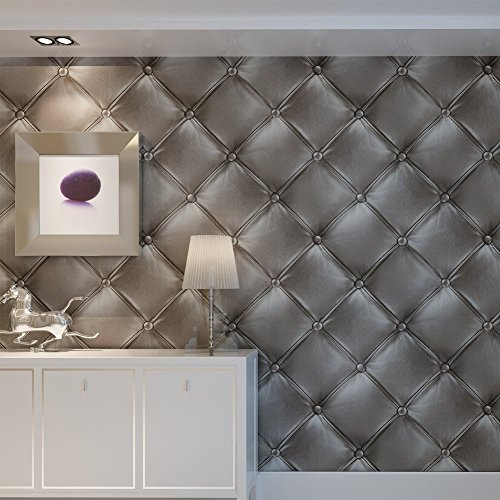 HANMERO® Murales decorativos pared 3D papel pintado imitación cuero vinilos papel de pared dormitorios/salón/hotel/ fondo de TV /color gris oscuro, 0.53M*10M