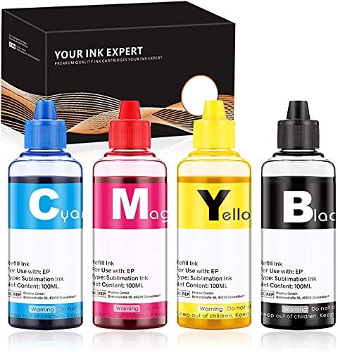IUBEST Tinta de Sublimación, Tinta de Transferencia de Calor Compatible con las Impresoras Epson 100 ml Cada Botella (1 Negro, 1 Cian, 1 Magenta, 1 Amarillo)