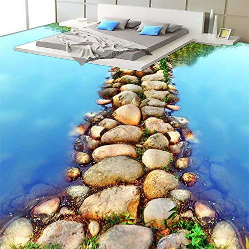 Rutschfester 3D-Pvc-Bodenschöne River Stone Path Toilette Badezimmer 3D Bodenbelag Tapete Pvc Selbstklebende Wasserdichte 3D Boden Tiles-400 * 280Cm