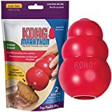 KONG Classic Durable Dog Toy and Marathon Chew Treat Combo (2 Pieces) - Chicken, Small