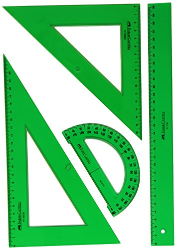 Faber-Castell 65021 - Pack escolar con escuadra, cartabón, regla y semicírculo, color verde