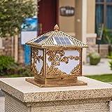Columna solar luz lámpara de pared marco de la puerta LED paisaje luz jardín valla lámpara iluminación ambiental vidrio tradicional -40 * 45 cm) Luz