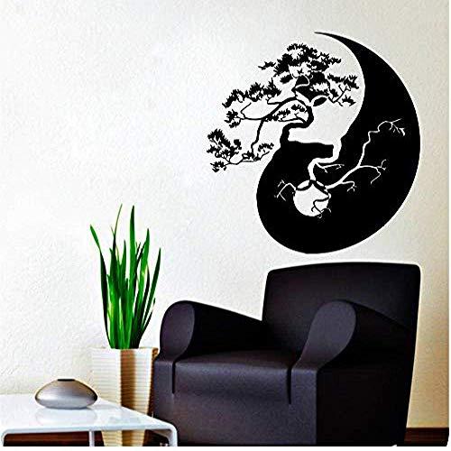Wandaufkleber Und Wandbilder Baum Bonsai Yin Yang Musterkunst Designed Wandaufkleber Home Wohnzimmer Mode Stilvolle Wandbilder Vinyl Abnehmbarer Aufkleber 60 * 60Com