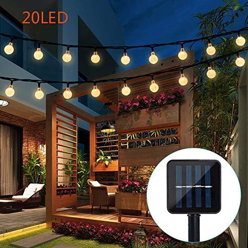 SZQL Luci A Stringa Solare, Lampadine A 20 LED A Tenuta Stagna, Illuminazione Esterna A Luce Bianca Calda per Arredo da Patio