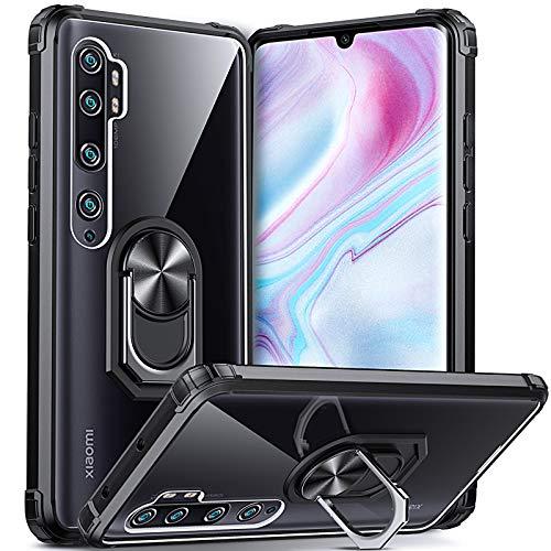 Dosnto Funda para Xiaomi Mi Note 10 /Note 10 Pro /CC9 Pro Antigolpes Dura Carcasa Transparente Silicona Protección con 360 Grados Anillo iman Soporte, Negro