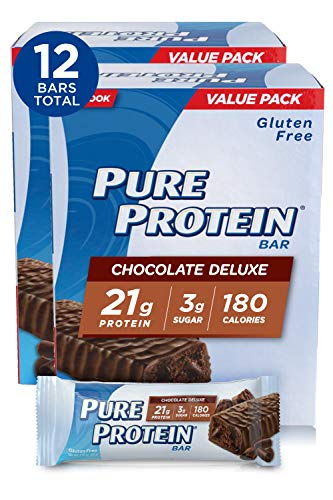 Pure Protein Bars, High Protein, Nutritious Snacks to Support Energy, Low Sugar, Gluten Free, Chocolate Deluxe, 1.76oz, 6 Count (Pack of 2)