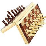 Juego de ajedrez de madera - Piezas de ajedrez hechas a mano - Tablero de ajedrez - Plegable - Espacio de almacenamiento interior - Apto para viajes - Piso de fieltro - Rey de 3 pulgadas - Patrón de