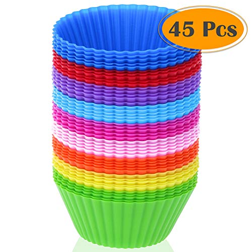 Silicone Cupcake Liners Selizo 45 Pcs Reusable Silicone Baking Cups Nonstick Muffin Molds for Cake Balls Muffins Cupcakes and Candies Assorted Bright Colors