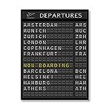 DFRES Reise Poster Flughafen Abflug Board Kunstdrucke