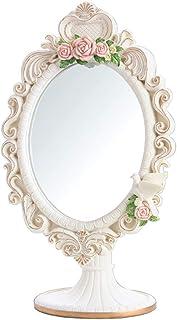 Vanity Mirror Desktop Makeup Mirror Rosette Frame Design Multi-Angle Free Rotation Bracket Resin HD for Family Dressing Room