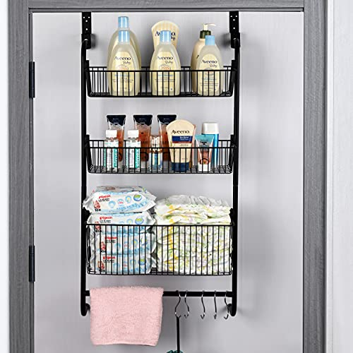 Wetheny Over The Door Pantry Organzier 3 Tier Hanging Wire Storage Basket Spice Rack Shelf with Hooks and Towel Rack for Bathroom Kitchen Craft Room Heavy Duty Black