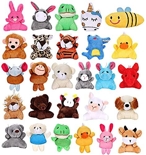 Vamei 27 Stück Plüsch Schlüsselanhänger Kinder Mini Plücschtier Kuscheltier Kleine Tiere Schlüsselring Anhänger Spielzeug Gastgeschenk Party Mitgebsel für Kinder