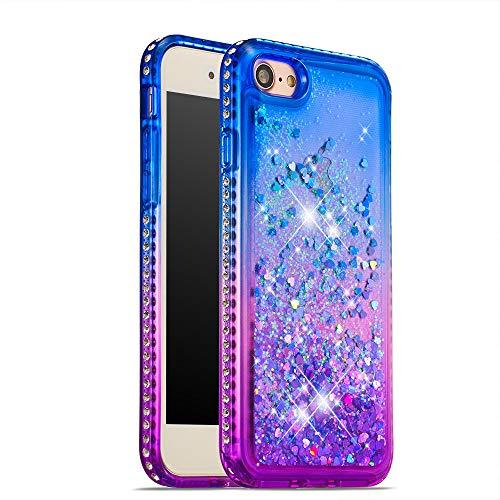 CrazyLemon Hülle for iPhone 6 Plus iPhone 6S Plus, Funkelnd Treibsand & Voll Side Strass Design Blau + Lila Weich Silikon TPU Handyhülle für Frauen