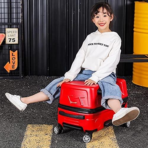 GIVROLDZ Trolley Trolley da Viaggio per Bambini Valigie, Due Ruote E Bagaglio A Mano Rigido con Lucchetto TSA Integrato, per Business Trip Travel School,Rosso