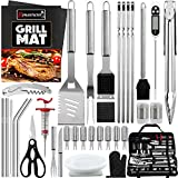 9. ROMANTICIST 40-Piece BBQ Accessory Kit with Thermometer and Meat Injector, Heavy Duty Complete Stainless Steel BBQ Tool Set with Storage Bag, Best Grill Gift for BBQ Lovers on Birthday Christmas