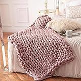 RFDFG Couverture tricotée en laine grossière pour l'hiver et la laine épaisse épaisse et chaude 100 x 150 cm