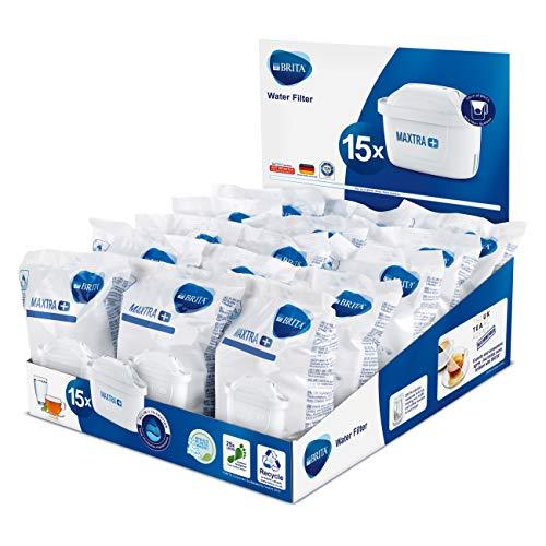 BRITA Maxtra Lot de 15 cartouches filtrantes de rechange compatibles avec toutes les carafes Brita - Réduit le chlore, le calcaire et les impuretés po