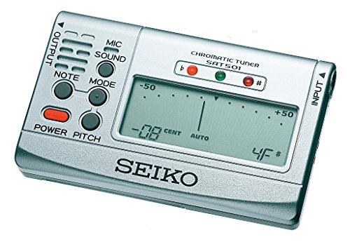 Seiko SAT501S - Afinador crómatico para guitarra (display LCD), color plateado - Seiko: Afinador cromático SAT 501 S