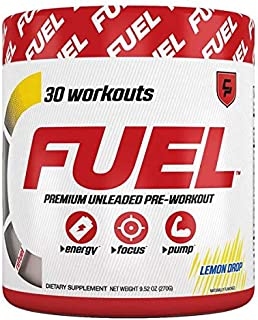 Fuel Pre Workout Powder (Lemon Drop Candy) Natural Healthy Energy Drink, Creatine Men & Women, Keto, Nitric Oxide, Endurance, Pump, Safe, Nootropic, Beta Alanine, Citrulline, 0 Calories, Sugar Free,