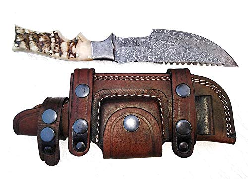 Ottoza Handmade Damascus Tracker Knife with Ram Horn Handle - Survival Knife - Camping Knife - Damascus Steel Knife - Damascus Hunting Knife with Sheath Horizontal Carry Fixed Blade Knife No:262