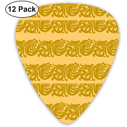 Merida Brave Celtic Border Gold Plektren 12er Pack, 3 Stärken, einschließlich 0,46 mm, 0,96 mm, 0,71 mm