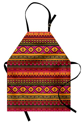 Lunarable Aztec Apron, South American Abstract Borders Mexican Peruvian Folk Art Elements Boho Doodle, Unisex Kitchen Bib with Adjustable Neck for Cooking Gardening, Adult Size, Orange Green