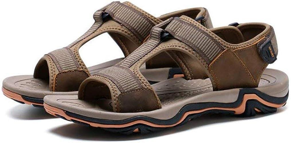 Fuxitoggo Sandales en Cuir pour Hommes Chaussures de randonnée en Plein air, Chaussures de Sport d'été (Couleuré   C, Taille   45)
