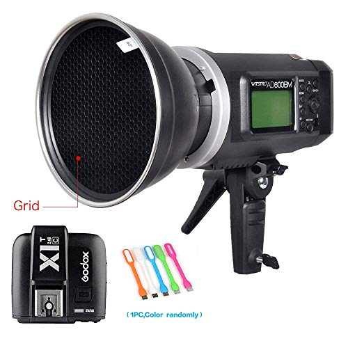 """Godox AD600BM Bowens Mount 600Ws GN87 HSS Outdoor Flash Strobe Light Monolight with X1T-C Wireless Trigger Transmitter Compatible for Canon Camera & 7"""" Standard Reflector &60° Honeycomb Grid&USB Light"""