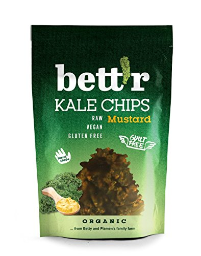 Bettr Bio Kale Chips mit Zwiebeln & Senf, 30 g | In Handarbeit hergestellt | Gemüsechips aus Grünkohl mit sorgfältig ausgewählten Gewürzen | Vegan, Roh, Laktosefrei, Glutenfrei, Ohne Zusatzstoffe