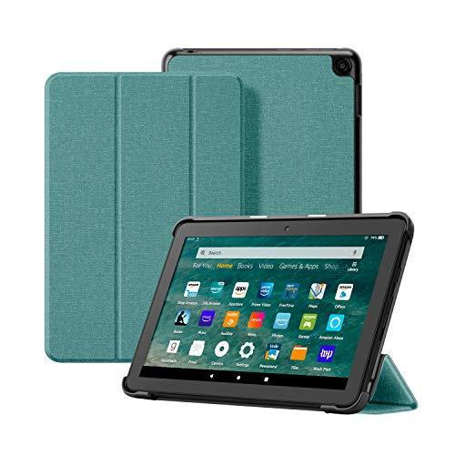 OLAIKE Custodia in tessuto per Tutto nuovo tablet Kindle Fire HD 8/8 Plus(10a Generazione, 2020), Copertura del supporto a tre ante con Auto Sleep/Wake (Solo per 2020 Fire HD 8/8 Plus), Menta verde